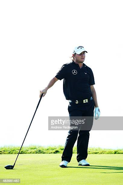 Emiliano Grillo of Argentina watches a shot during the second round of the 2015 PGA Championship at Whistling Straits on August 14 2015 in Sheboygan...