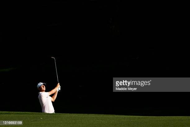 Emiliano Grillo of Argentina watches his approach on the 15th hole during the first round of the 2021 Wells Fargo Championship at Quail Hollow Club...
