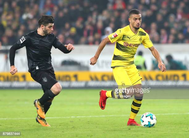 Emiliano Insua of Stuttgart and Jeremy Toljan of Dortmund battle for the ball during the Bundesliga match between VfB Stuttgart and Borussia Dortmund...