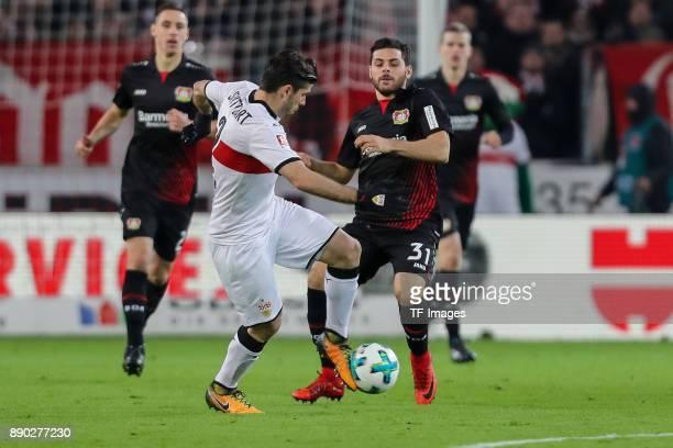 Emiliano Insua of Stuttgart and Kevin Volland of Bayer Leverkusen battle for the ball during the Bundesliga match between VfB Stuttgart and Bayer 04...
