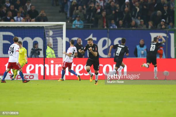 Emiliano Insua of Stuttgart celebrates after Daniel Ginczek of Stuttgart scored a goal from the penalty spot to make it 11 during the Bundesliga...