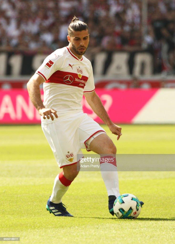 Emiliano Insua of VfB Stuttgart in action during the Bundesliga match between VfB Stuttgart and TSG 1899 Hoffenheim at Mercedes-Benz Arena on May 5, 2018 in Stuttgart, Germany.