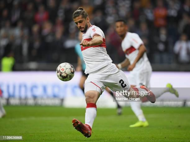 Emiliano Insua Zapata of Stuttgart controls the ball during the Bundesliga match between Eintracht Frankfurt and VfB Stuttgart at CommerzbankArena on...