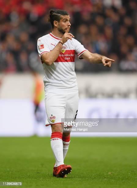 Emiliano Insua Zapata of Stuttgart gestures during the Bundesliga match between Eintracht Frankfurt and VfB Stuttgart at CommerzbankArena on March 31...