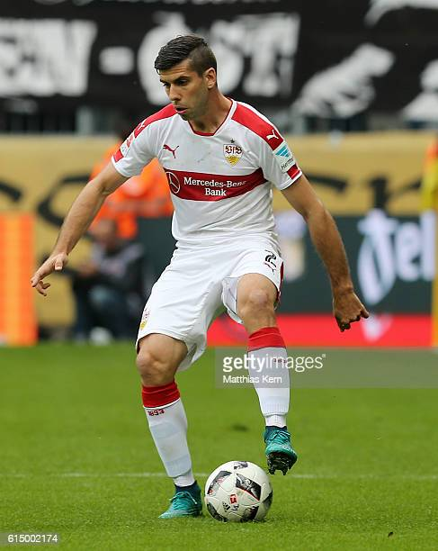 Emiliano Insua Zapata of Stuttgart runs with the ball during the Second Bundesliga match between SG Dynamo Dresden and VfB Stuttgart at DDVStadion on...