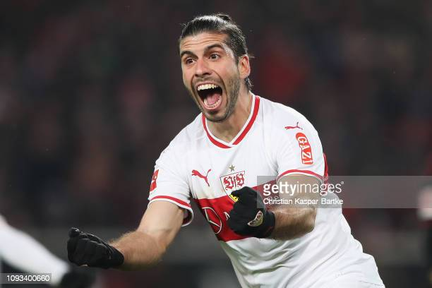 Emiliano Insua Zapata of VfB Stuttgart celebrates scoring his teams first goal of the game during the Bundesliga match between VfB Stuttgart and...