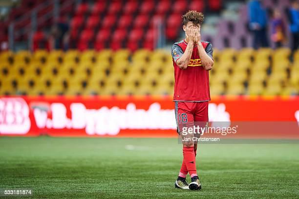 Emiliano Marcondes Hansen of FC Nordsjalland looks dejected after the Danish Alka Superliga match between FC Nordsjalland and AGF Arhus at Right to...