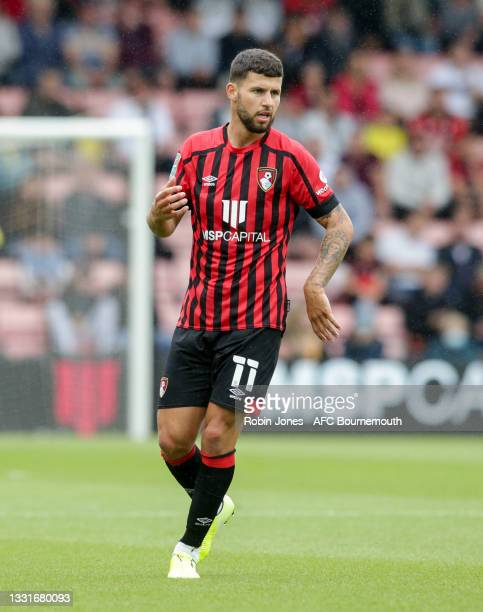 Emiliano Marcondes of Bournemouth during the Carabao Cup 1st Round match between AFC Bournemouth and MK Dons at Vitality Stadium on July 31, 2021 in...