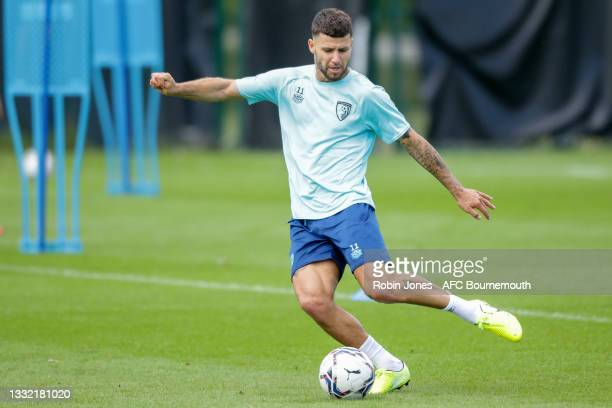 Emiliano Marcondes of Bournemouth kicks the ball during a pre-season training session at Vitality stadium on August 03, 2021 in Bournemouth, England.