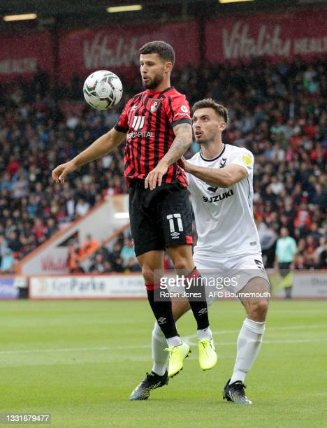 Emiliano Marcondes of Bournemouth shields the ball from Warren O'Hora of MK Dons during the Carabao Cup 1st Round match between AFC Bournemouth and...