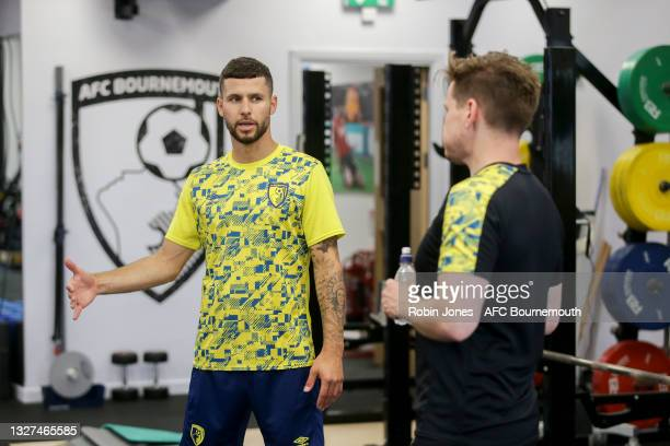 Emiliano Marcondes of Bournemouth works out in the gym during a pre-season training session at Vitality Stadium on July 07, 2021 in Bournemouth,...