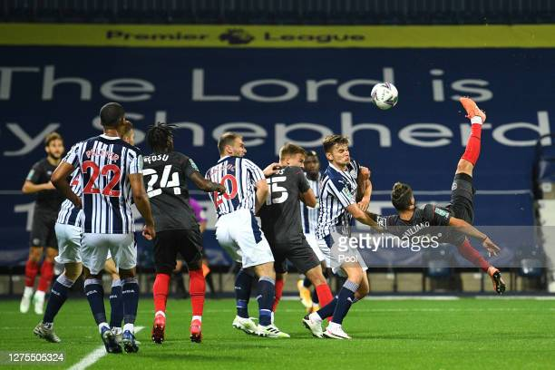 Emiliano Marcondes of Brentford FC scores his sides first goal during the Carabao Cup Third Round match between West Bromwich Albion and Brentford FC...