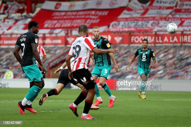 Emiliano Marcondes of Brentford scores his team's second goal during the Sky Bet Championship Play Off Semi-final 2nd Leg match between Brentford and...