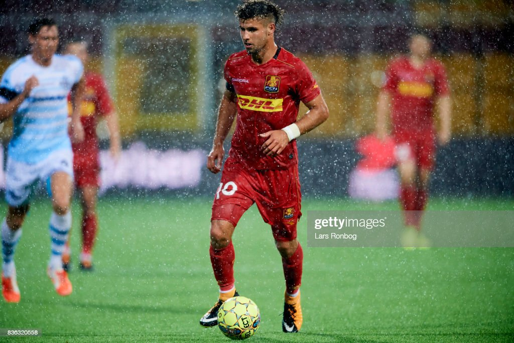 Emiliano Marcondes of FC Nordsjalland controls the ball during the Danish Alka Superliga match between FC Nordsjalland and FC Helsingor at Right to Dream Park on August 21, 2017 in Farum, Denmark.