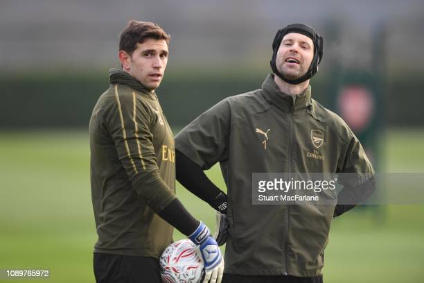 Emiliano Martinez and Petr Cech of Arsenal during a training session at London Colney on January 04, 2019 in St Albans, England.