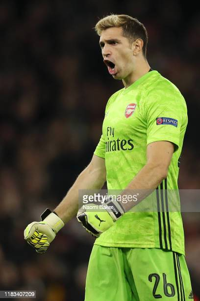 Emiliano Martinez of Arsenal celebrates after his team mate Nicolas Pepe of Arsenal scored their teams third goal during the UEFA Europa League group...