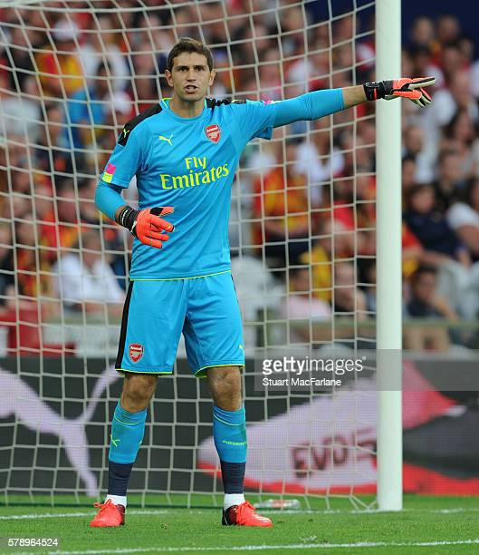 Emiliano Martinez of Arsenal during a pre season friendly between RC Lens and Arsenal at Stade BollaertDelelis on July 22 2016 in Lens