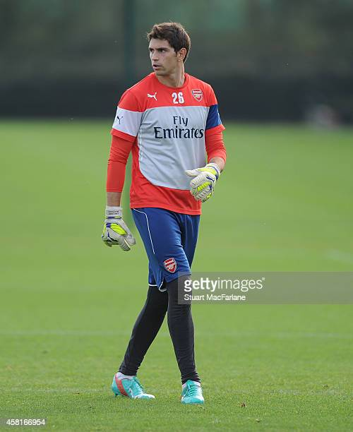 Emiliano Martinez of Arsenal during a training session at London Colney on October 31 2014 in St Albans England Photo by Stuart MacFarlane/Arsenal FC...