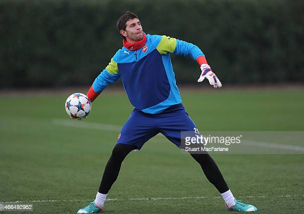 Emiliano Martinez of Arsenal during a training session at London Colney on March 16 2015 in St Albans England