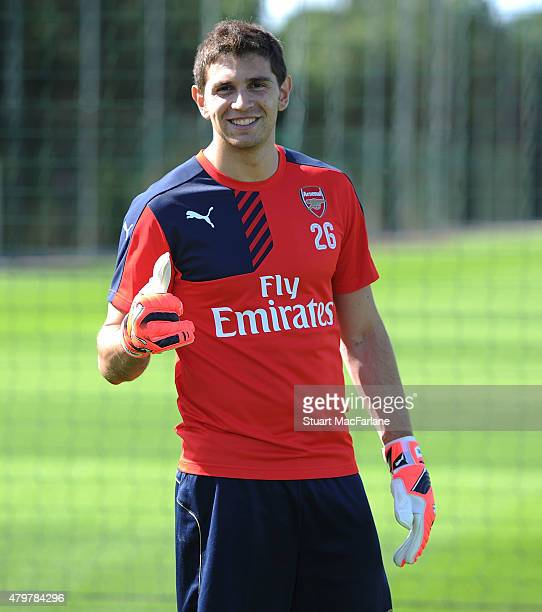 Emiliano Martinez of Arsenal during a training session at London Colney on July 7 2015 in St Albans England