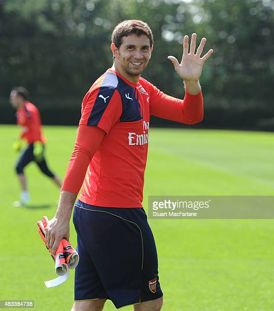Emiliano Martinez of Arsenal during a training session at London Colney on August 8 2015 in St Albans England