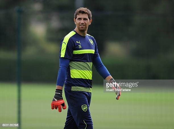 Emiliano Martinez of Arsenal during a training session at London Colney on September 12 2016 in St Albans England