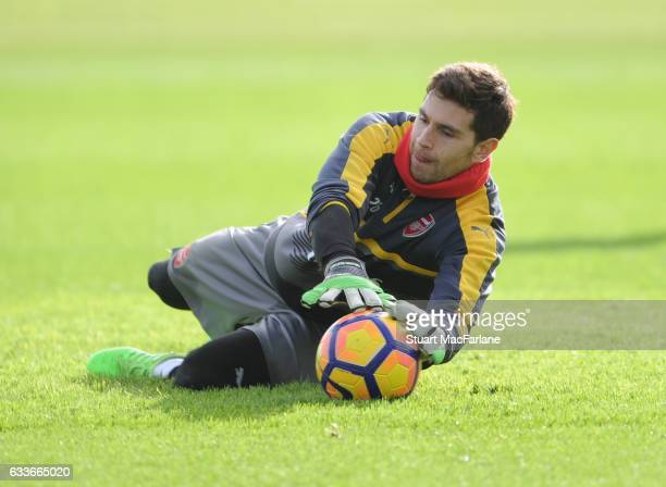 Emiliano Martinez of Arsenal during a training session at London Colney on February 3 2017 in St Albans England