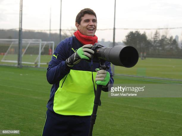 Emiliano Martinez of Arsenal during a training session at London Colney on February 13 2017 in St Albans England