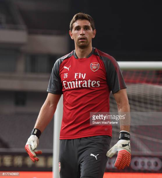 Emiliano Martinez of Arsenal during a training session at the Shanghai Stadium on July 18 2017 in Shanghai China