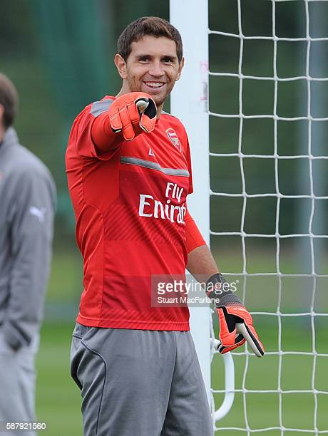 Emiliano Martinez of Arsenal during a training session on August 10 2016 in St Albans England