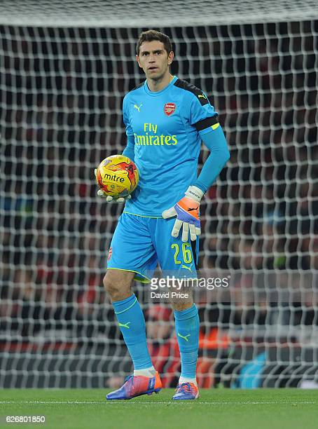 Emiliano Martinez of Arsenal during the EFL League Cup match between Arsenal and Southampton at Emirates Stadium on November 30 2016 in London England