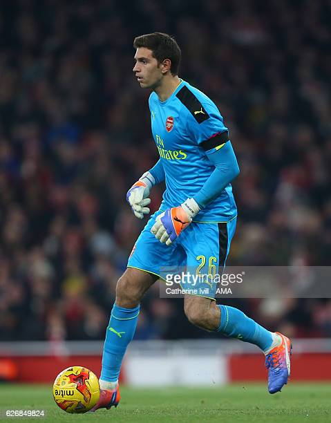 Emiliano Martinez of Arsenal during the EFL Quarter Final Cup match between Arsenal and Southampton at Emirates Stadium on November 30 2016 in London...