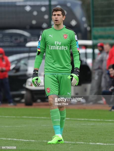 Emiliano Martinez of Arsenal during the match between Arsenal U23 and Tottenham Hotspur U23 at London Colney on March 3 2017 in St Albans England