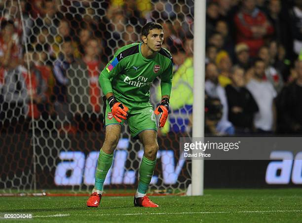 Emiliano Martinez of Arsenal during the match between Nottingham Forest and Arsenal at City Ground on September 20 2016 in Nottingham England