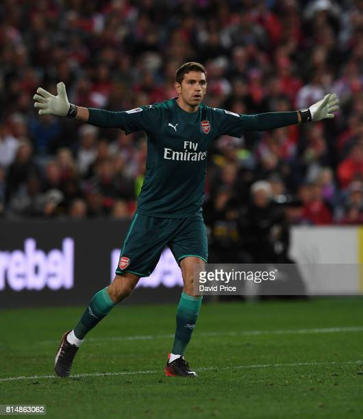 Emiliano Martinez of Arsenal during the match between the Western Sydney Wanderers and Arsenal FC at ANZ Stadium on July 15 2017 in Sydney Australia