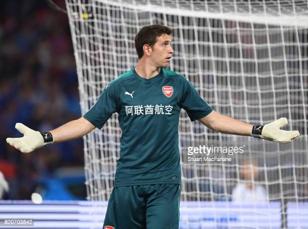 Emiliano Martinez of Arsenal during the pre season friendly between Arsenal and Chelsea at the Birds Nest on July 22 2017 in Beijing