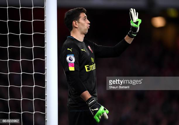 Emiliano Martinez of Arsenal gives his team instructions during the Premier League match between Arsenal and West Ham United at the Emirates Stadium...
