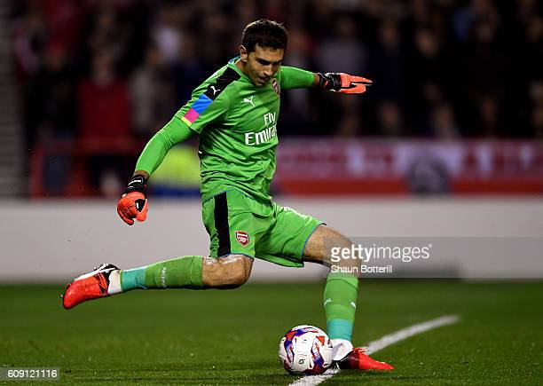 Emiliano Martinez of Arsenal kicks down field during the EFL Cup Third Round match between Nottingham Forest and Arsenal at City Ground on September...