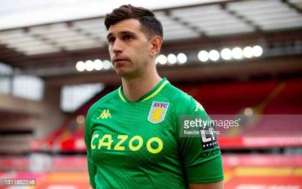 Emiliano Martinez of Aston after the Premier League match between Liverpool and Aston Villa at Anfield on April 10, 2021 in Liverpool, England....