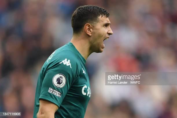 Emiliano Martinez of Aston Villa reacts during the Premier League match between Aston Villa and Wolverhampton Wanderers at Villa Park on October 16,...