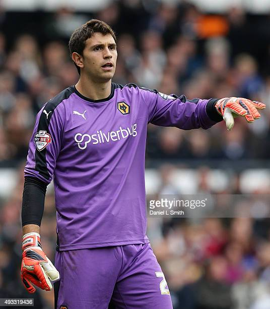 Emiliano Martinez of Wolverhampton Wanderers FC directs his defenders during the Sky Bet Championship match between Derby County and Wolverhampton...