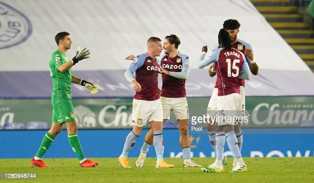 Emiliano Martinez Ross Barkley Jack Grealish Bertrand Traore and Tyrone Mings of Aston Villa celebrate following their sides victory in the Premier...