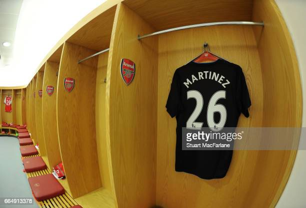 Emiliano Martinez's Arsenal shirt in the home changing room before the Premier League match between Arsenal and West Ham United at Emirates Stadium...