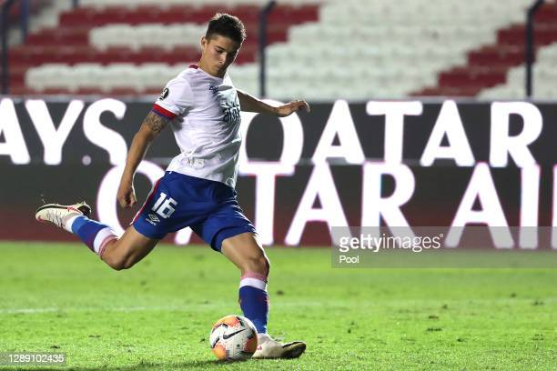 Emiliano Martínez of Nacional takes the fifth penalty in the penalty shootout the during a round of sixteen second leg match of Copa CONMEBOL...