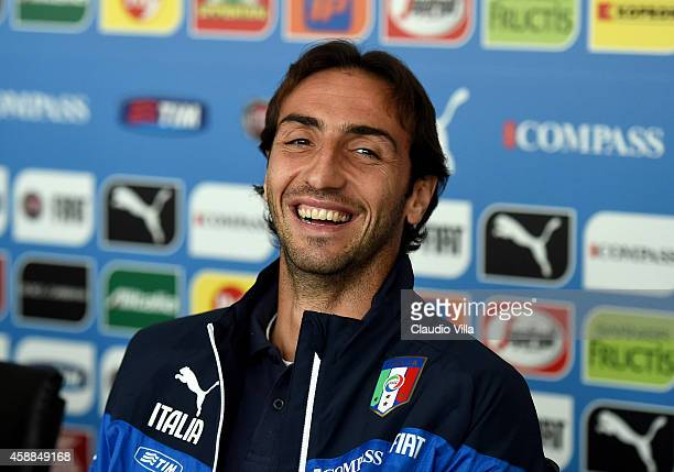 Emiliano Moretti during Italy Press Conference at Coverciano on November 12 2014 in Florence Italy