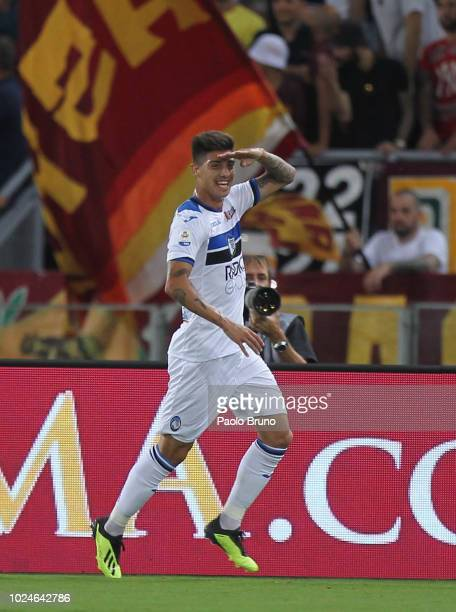 Emiliano Rigoni of Atalanta BC celebrates after scoring the team's second goal during the Serie A match between AS Roma and Atalanta BC at Stadio...