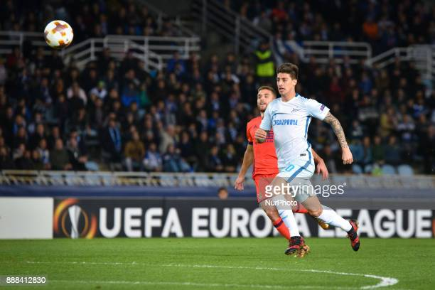 Emiliano Rigoni of Zenit duels for the ball with Kevin Rodrigues of Real Sociedad during the UEFA Europa League Group L football match between Real...