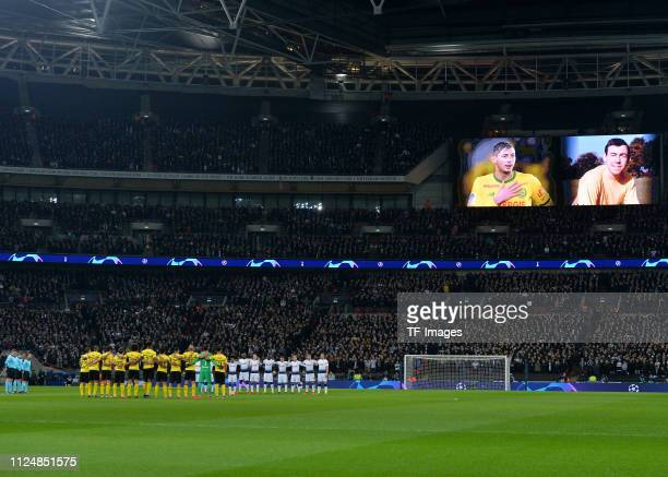 Emiliano Sala and Gordan Banks are shown on the stadium screen during the UEFA Champions League Round of 16 First Leg match between Tottenham Hotspur...