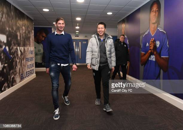 Emiliano Sala and Ken Choo CEO on January 18 2019 in Cardiff Wales