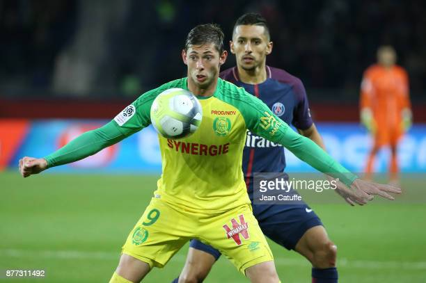 Emiliano Sala of FC Nantes Marquinhos of PSG during the French Ligue 1 match between Paris Saint Germain and FC Nantes at Parc des Princes stadium on...